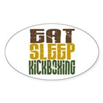 Eat Sleep Kickboxing Oval Sticker (10 pk)