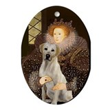 The Queen & Her Yellow Lab Oval Ornament