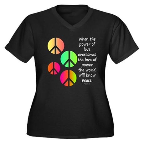 Peace and Love Women's Plus Size V-Neck Dark T-Shi