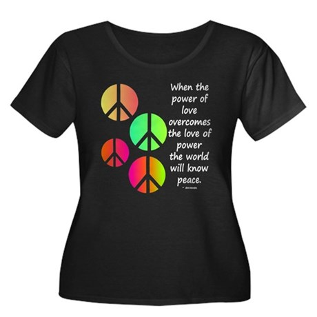 Peace and Love Women's Plus Size Scoop Neck Dark T