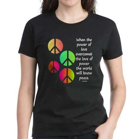 Peace and Love Women's Dark T-Shirt