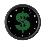 Green Dollar Sign Large Wall Clock