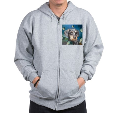 Wiredhair Doxie in Space Zip Hoodie
