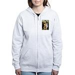 Mona / Akita (br&w) Women's Zip Hoodie