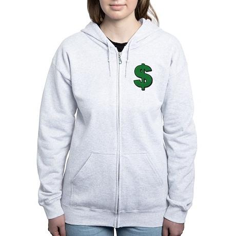 Green Dollar Sign Women's Zip Hoodie