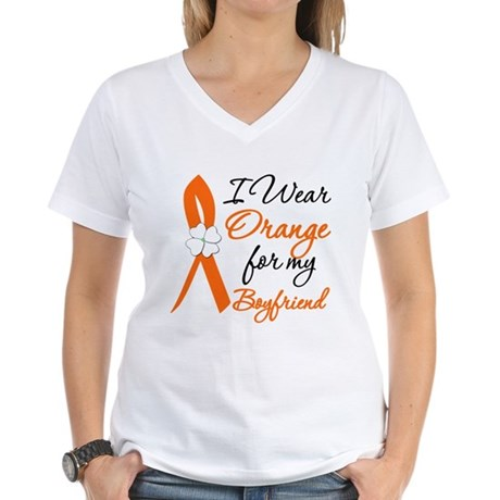 I Wear Orange For My Boy Friend Women's V-Neck T-S