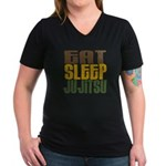 Eat Sleep Ju Jitsu Women's V-Neck Dark T-Shirt