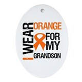 I Wear Orange Grandson Oval Ornament