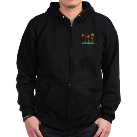 Flute Flowers Zip Hoodie (dark)