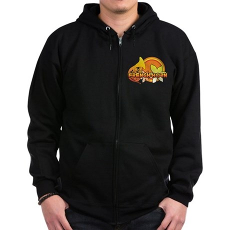 Retro French Horn Zip Hoodie (dark)
