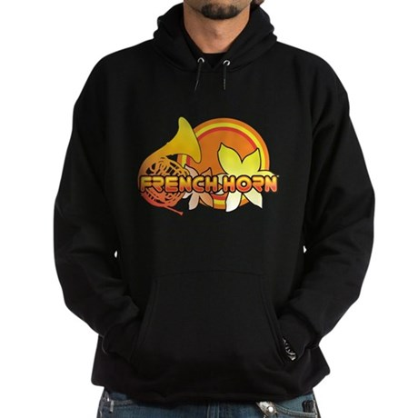Retro French Horn Hoodie (dark)