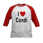 I Love Condi (Front) Kids Baseball Jersey