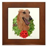 Red Wreath Framed Tile