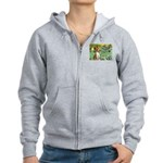Basenji in Irises Women's Zip Hoodie