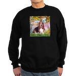 Basset in the Garden Sweatshirt (dark)