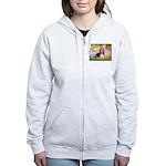 Basset in the Garden Women's Zip Hoodie