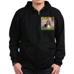 Basset in the Garden Zip Hoodie (dark)