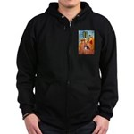 Room with a Basset Zip Hoodie (dark)