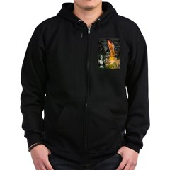 Fairies / Bearded Collie Zip Hoodie (dark)