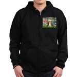 Lilies / Bearded Collie Zip Hoodie (dark)