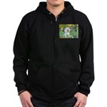 Irises and Bichon Zip Hoodie (dark)