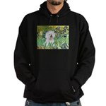 Irises and Bichon Hoodie (dark)