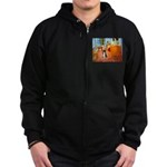 Room with Border Collie Zip Hoodie (dark)