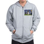 Starry Night Border Collie Zip Hoodie
