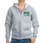 Sailboats & Border Collie Women's Zip Hoodie