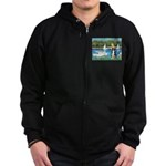 Sailboats & Border Collie Zip Hoodie (dark)