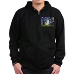 Starry Night & Borzoi Zip Hoodie (dark)