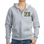 Borzoi in Monet's Lilies Women's Zip Hoodie