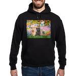 Garden/3 Cairn Terriers Hoodie (dark)