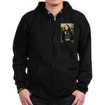 Mona's Black Shar Pei Zip Hoodie (dark)