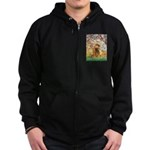 Spring /Cocker Spaniel (buff) Zip Hoodie (dark)