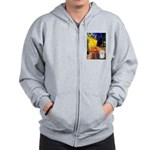 Cafe with Coton de Tulear Zip Hoodie