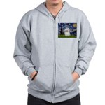 Starry Night Coton de Tulear Zip Hoodie