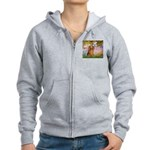 Garden -Dachshund (LH-Sable) Women's Zip Hoodie