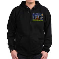 Starry Night Doxie Pair Zip Hoodie (dark)