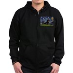 Starry Night Dachshund Zip Hoodie (dark)