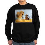 Sunflowres / Dachshund Sweatshirt (dark)