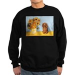 Sunflowers - Doxie (LH,S) Sweatshirt (dark)