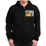 Sunflowers - Doxie (LH,S) Zip Hoodie (dark)