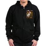 Windflowers / Dachshund Zip Hoodie (dark)
