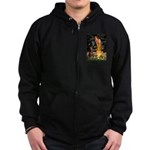 Fairies & Red Doberman Zip Hoodie (dark)
