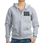 Starry / Red Doberman Women's Zip Hoodie