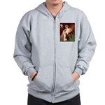 Seated Angel & Dobie Zip Hoodie