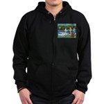 Sailboats /English Bulldog Zip Hoodie (dark)