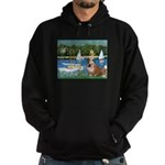 Sailboats /English Bulldog Hoodie (dark)