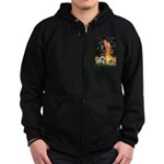 Fairies / English Bulldog Zip Hoodie (dark)